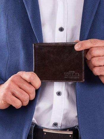 Miękki męski portfel brązowy