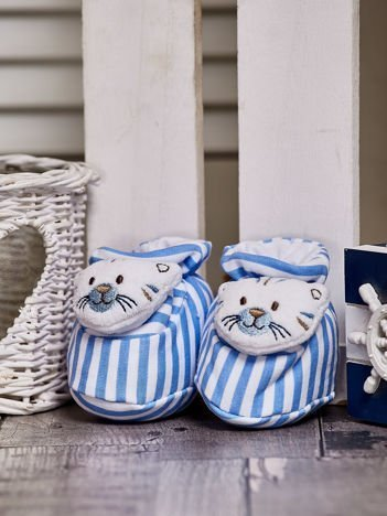 Miękkie buciki dziecięce w paski z ozdobnym kotkiem niebieskie