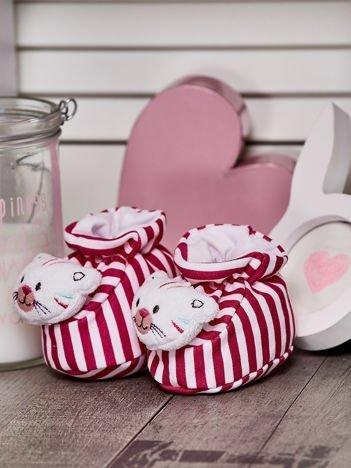 Miękkie buciki dziecięce w paski z ozdobnym kotkiem różowe