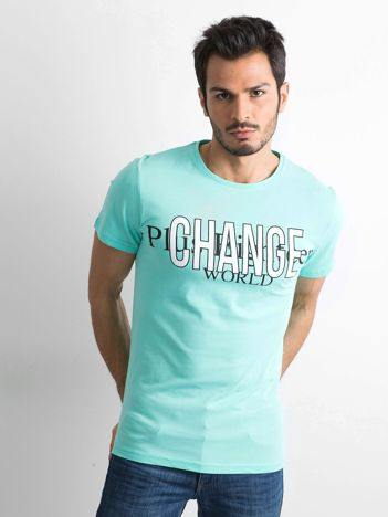 Miętowa bawełniana koszulka męska z nadrukiem