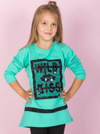 Miętowa bawełniana tunika dziecięca z aplikacją
