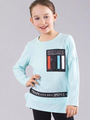 Miętowa bluzka dziewczęca z aplikacjami