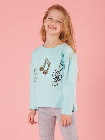 Miętowa bluzka dziewczęca z muzyczną aplikacją