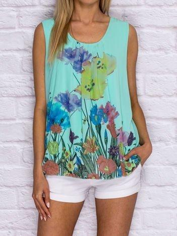 Miętowa bluzka koszulowa z motywem floral print