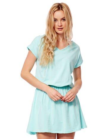 Miętowa sukienka V-neck z gumką w pasie
