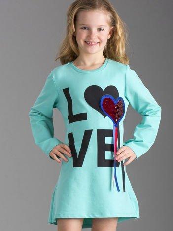 Miętowa sukienka dziewczęca z aplikacją