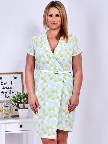 Miętowa sukienka w grochy PLUS SIZE
