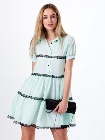 Miętowa sukienka z kołnierzykiem