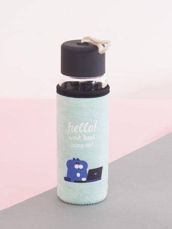 Miętowa szklana butelka z pokrowcem i zakrętką