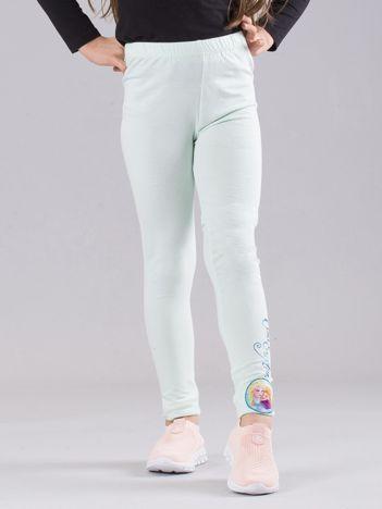 Miętowe dziewczęce legginsy z nadrukiem FROZEN