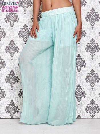Miętowe plisowane spodnie palazzo