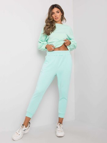 Miętowe spodnie dresowe z bawełny Clancy