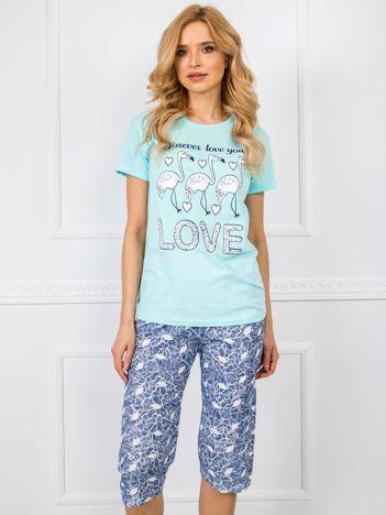 Miętowo-granatowa piżama damska
