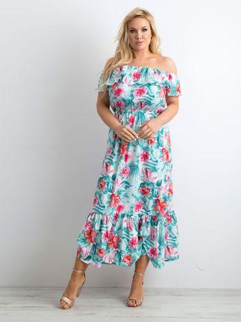 Miętowo-różowa sukienka hiszpanka maxi PLUS SIZE