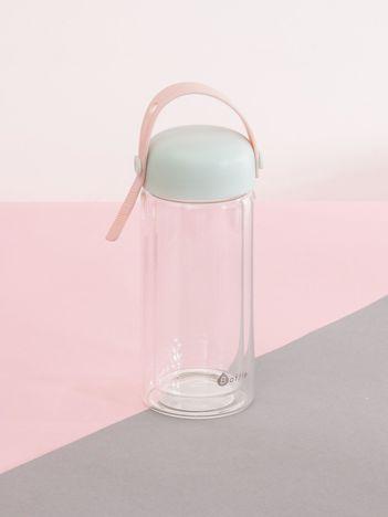 Miętowo-różowa szklana butelka z zakrętką