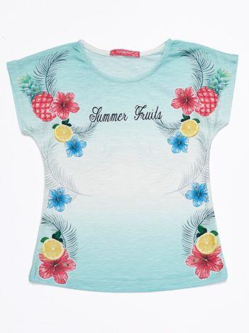 Miętowy ombre t-shirt dziewczęcy z tropikalnym nadrukiem