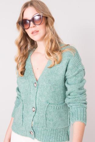 Miętowy rozpinany sweter z dekoltem V BSL