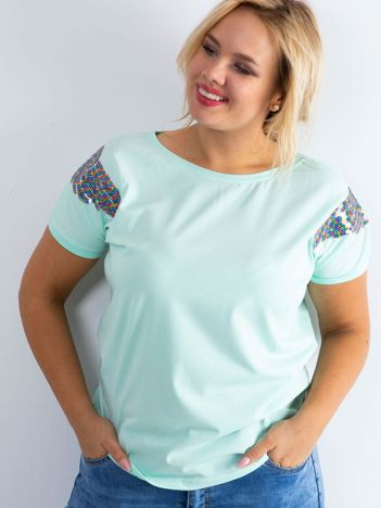 Miętowy t-shirt Magically PLUS SIZE