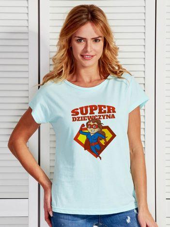 d37b764ca7 Miętowy t-shirt damski SUPER DZIEWCZYNA brunetka