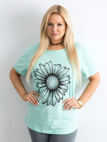 Miętowy t-shirt damski z nadrukiem PLUS SIZE