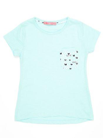 Miętowy t-shirt dla dziewczynki z kieszonką