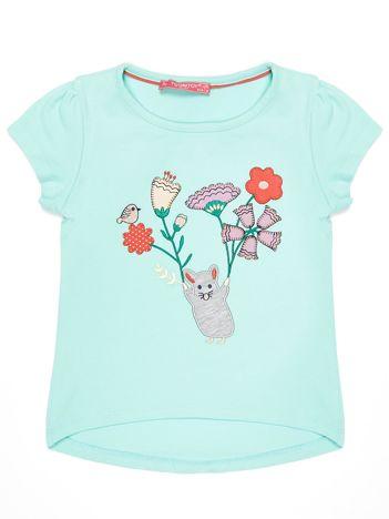 Miętowy t-shirt dla dziewczynki z kolorową naszywką