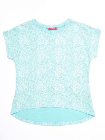 Miętowy t-shirt dla dziewczynki z kwiatowym nadrukiem