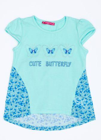 Miętowy t-shirt dla dziewczynki z nadrukiem motyli