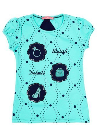 Miętowy t-shirt dla dziewczynki z naszywkami