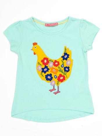 Miętowy t-shirt dziewczęcy z naszywką kury