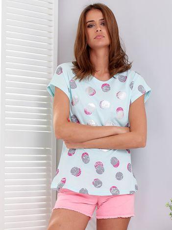 Miętowy t-shirt  w błyszczące grochy