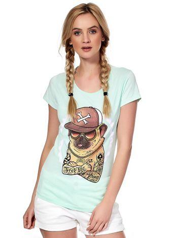 Miętowy t-shirt z buldogiem