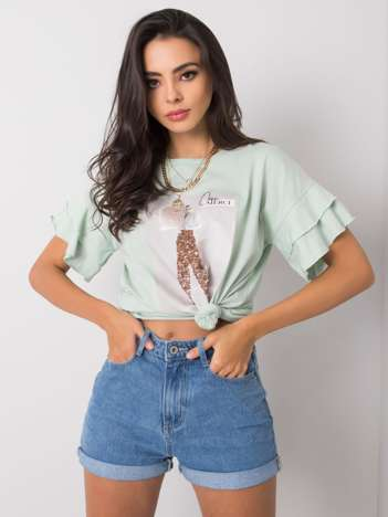 Miętowy t-shirt z falbanami Xandy