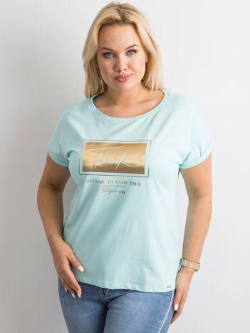 Miętowy t-shirt z nadrukiem PLUS SIZE