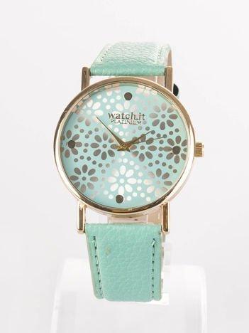 Miętowy zegarek damski z kwiatową tarczą