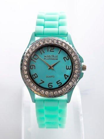 Miętowy zegarek silikonowy damski