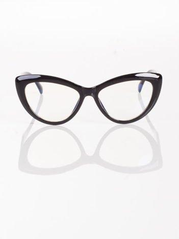 Modne okulary zerówki typu KOCIE OCZY w stylu Marlin Monroe- soczewki ANTYREFLEKS+system FLEX na zausznikach