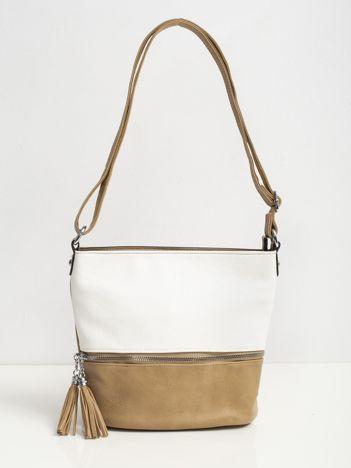 Morelowo-biała torebka na ramię