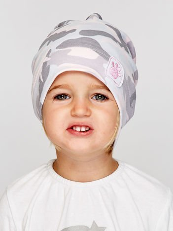 Moro czapka dziewczęca z naszywką psiej łapki jasnoróżowa