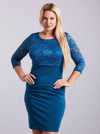 Morska sukienka plus size z koronkową górą PLUS SIZE