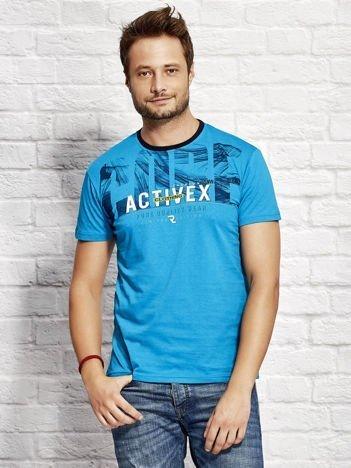 Morski t-shirt męski z printem