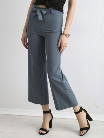 Morskie szerokie spodnie z wiązaniem