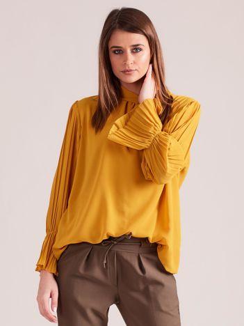 Musztardowa bluzka z plisowanymi rękawami