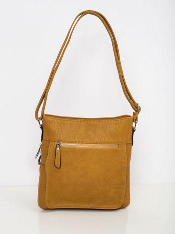Musztardowa torba damska z zewnętrzną kieszenią