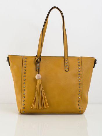 Musztardowa torba shopperka z ekoskóry