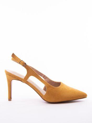 Musztardowe sandały Sabatina z noskiem w szpic bez pięty