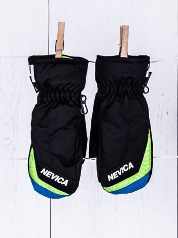 NEVICA Ocieplane wodoodporne dziecięce rękawiczki narciarskie czarne