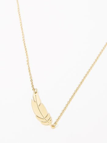 Naszyjnik damski nieskończoność z celebrytką piórkiem pozłacany 14-karatowym złotem