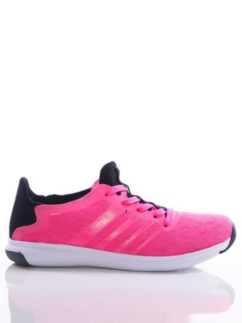 Neofuksjowe buty sportowe Evento z ażurową cholewką i czarnymi wstawkami