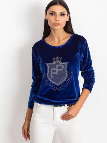 Niebieska aksamitna bluza z herbem z dżetów